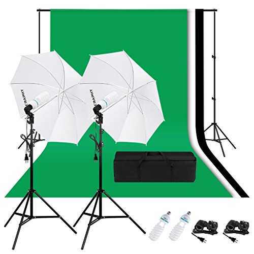 CRAPHY Photography Studio Lighting Kit 1250W 5500K Daylight Umbrella + Background Support Stand (10×6.5FT) + 3 Muslin Backdrops (White Black Green, 9x6FT)