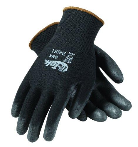 G-Tek 33-B125/L ONX Seamless Knit Nylon Gloves with Polyurethane Coated Palm and Fingers, Black, Large, 1-Dozen