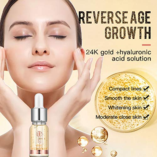 Lifting Fluid (24K Gold Essence Gold hyaluronic Acid Lifting Serum Lighten fine Lines Essence Moisturizing Essence Control Oil Essence for Lighten Dark Spots,Whitening Firming,Anti Aging 10ml (Gold))