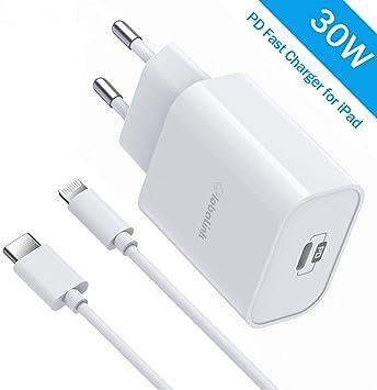 30W Set Cargador Rápido para iPhone y iPad,GlobaLink Cargador Certificado MFi USB C+2M Cable USB-C a Lightning-PD&QC 3.0 para iPad,iPad Pro,iPhone SE 2020/11 Pro Max/11Pro/11/XsMAX/XS/XR/X,MacBook 12