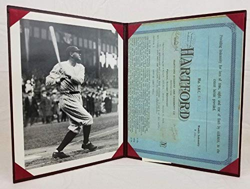 Babe Ruth Replica The Hartford Life Insurance Policy Application w/ 8x10 Photo - MLB Autographed Miscellaneous -