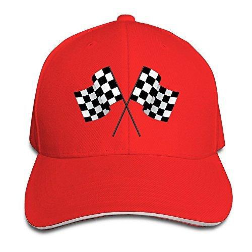 Checkered Flags Race Car Flag Pole Adjustable Sandwich Peaked Baseball Hats