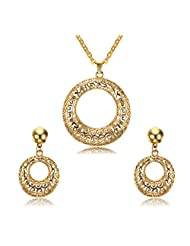 Gold Plated Stainless Steel Round Hollow Filigree Women's Hoop Earrings Necklace Set