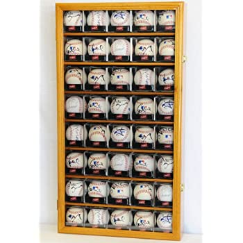 Image of 40 Baseball Arcylic Cubes Display Case Cabinet Holders Rack w/ UV Protection, Oak Accessories