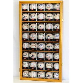 Image of 40 Baseball Arcylic Cubes Display Case Cabinet Holders Rack w/ UV Protection, Oak