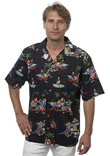 Benny's Mens Parrots and Margaritas Parrothead Hawaiian Shirt (2X, Black)