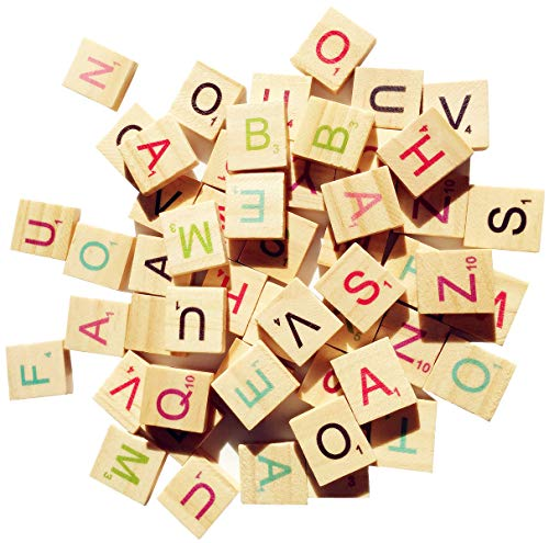 Abbaoww 300 Colorful Wood Scrabble Tiles Letter Tiles Wood Pieces-Great for Crafts, Pendants, Spelling,Scrapbook