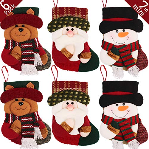 (PartyBus 7.5 Inch Mini Christmas Stockings 6 Pack, 3D Santa Snowman Reindeer Xmas Tree Decorations, Gift Card Holders Cash Bags Holiday Treats for Family Coworkers Neighbors Kids Dogs Cats)