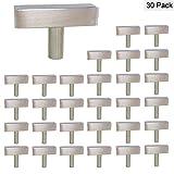 Cabinet Knobs Brushed Nickel Single Hole Square T Bar 30 Pack - Homdiy HDJ22SN 2in 50mm Length Kitchen Drawer Pulls Knobs Cupboard Door Handles