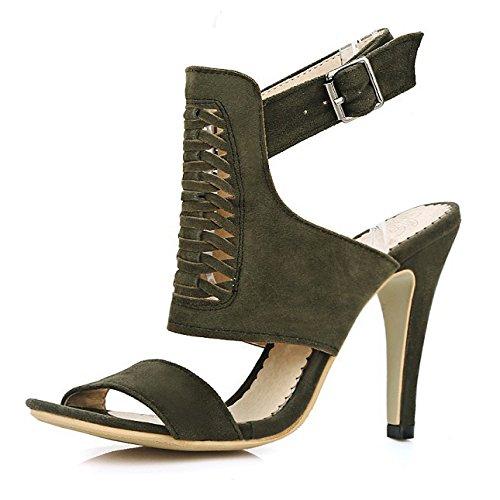 Cheville Sandale Fête Peep De Pompes Green De Mariage ALBOC Toe Sangle à Talon La Chaussures Womens Slingback FTW1gnI0