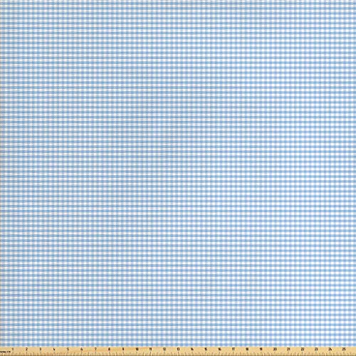 (Ambesonne Checkered Fabric by The Yard, Little Squares and Stripes Pastel Color Gingham Repeating Rows Vintage Tile, Decorative Fabric for Upholstery and Home Accents, 1 Yard, Pale Blue White)