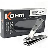 Kohm CP-140L Toenail Clipper for Thick Nails, 4mm Wide Jaw Opening, Curved Blades, Stainless Steel