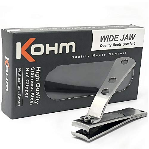- Kohm CP-140L Nail Clippers for Thick Nails, Wide Jaw, Curved Blade - Sharp, Heavy Duty, Large Stainless Steel Toenail Clippers for Thick Toenails for Men, Seniors, Adults with Built-In Nail File