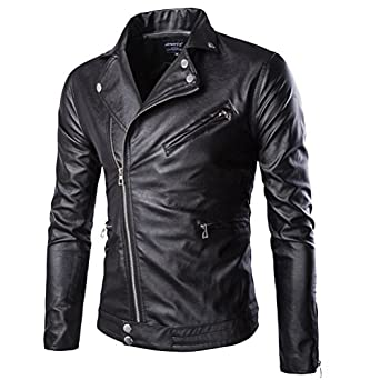 Huafeiwude Men&39s Classic Leather Motorcycle Jackets Zipper Bomber