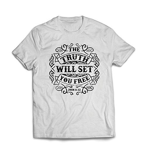 lepni.me Men's T-Shirt The Truth Will Set You Free - The Proof of Faith - Christian - Resurrection - Nativity, Religious (Medium White Multi ()