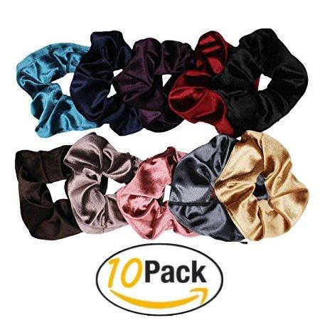 Starley Box | 10 Pack Velvet Scrunchies | Scrunchies For Women | Assorted Bobbles | Hair Ties | Hair Elastics