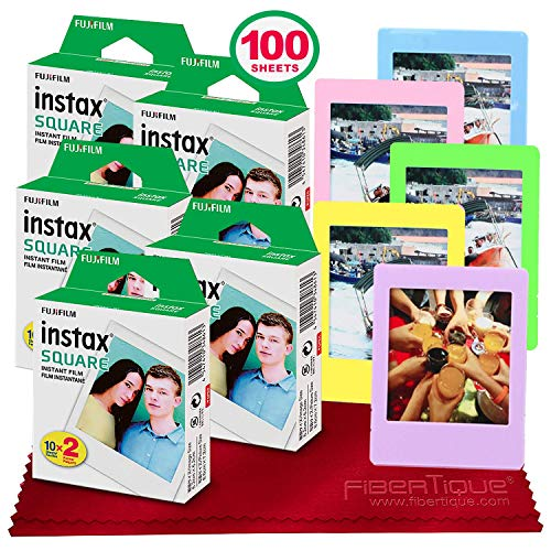 Fujifilm instax SQUARE Instant Film (100 Exposures) For SQ6, SP-3, SQ20 + 5 Color Picture Frames + FiberTique Cleaning Cloth
