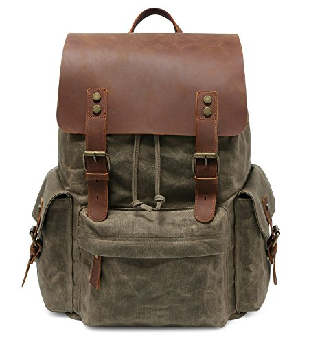 Large Flap Front - Kattee Large Leather Canvas Backpack School Bag Outdoor Travel Rucksack (Army Green)