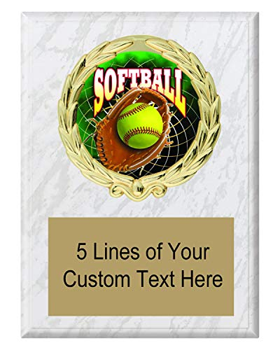 Express Medals 5x7 White Marble Color Softball Plaque Award Trophy with Engraved Plate FCL547 ()