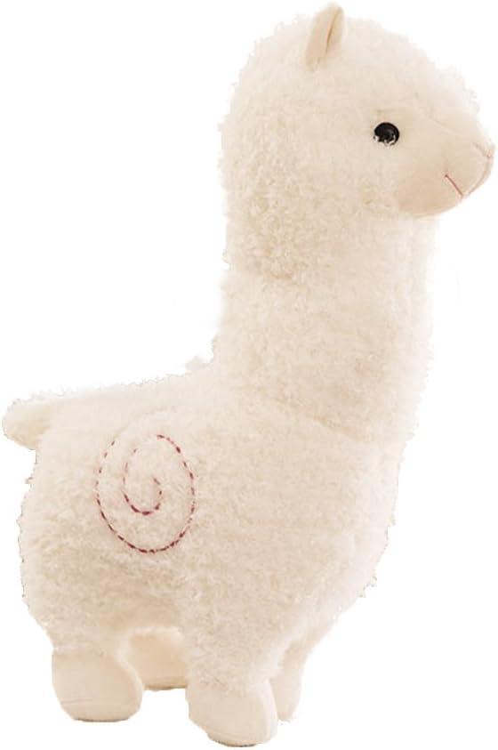 TOYMYTOY Juguetes de animales de alpaca suaves lindos juguetes de muñecas de peluche ovejas elegantes para los niños y los amantes de 24 cm (blanco)