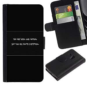 // PHONE CASE GIFT // Moda Estuche Funda de Cuero Billetera Tarjeta de crédito dinero bolsa Cubierta de proteccion Caso Samsung Galaxy S3 MINI 8190 / Feel Like Nothing /