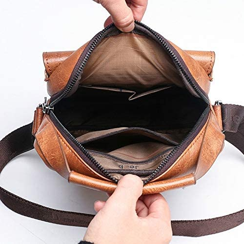 Color : Black, Size : B XINHUANG Small Briefcase Mens Messenger Bag Men Leather Shoulder Bags Man Business Crossbody Bags for IPAD Air Mini Male Leather Handbag