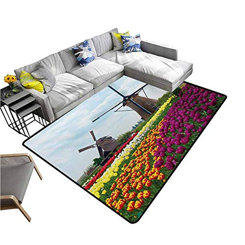 Thin Non-Slip Kitchen Bathroom Carpet Colorful Windmill,Bedding Plants of Netherlands Farm Country Heritage Historical Architecture Theme,Multicolor 48