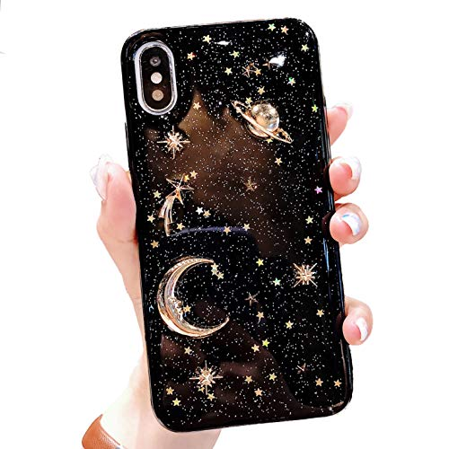 Jesiya for iPhone XR Case Bling Planet Glitter with Space Sparkle Moon Star Universe Soft TPU Silicone Shockproof Protective Cases Cover for iPhone XR