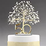 50th Anniversary Cake Topper Centerpiece in Gold Tone Wire with Quartz Crystal and Number 50.