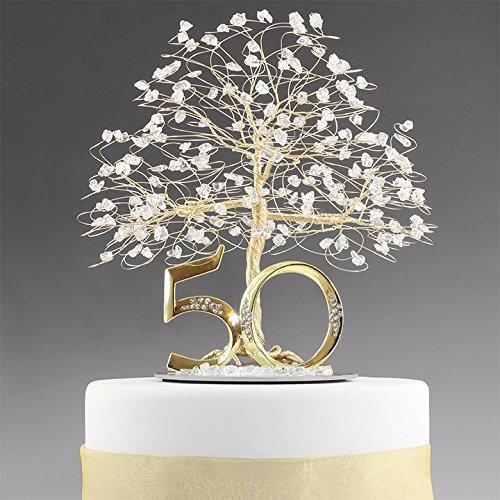 50th Anniversary Cake Topper Centerpiece in Gold Tone Wire with Quartz Crystal and Number 50. by ByApryl