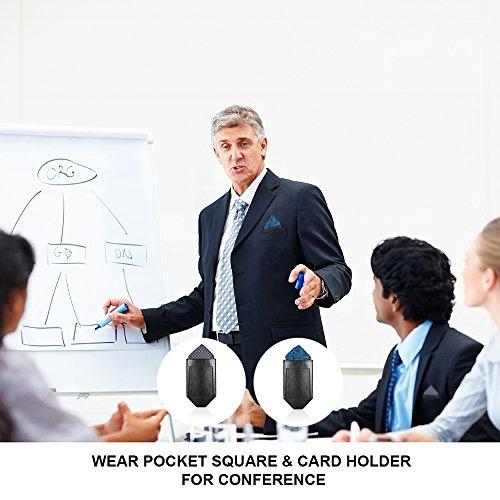 Pocket Squares For Men,Silk Men's Suit Handkerchiefs with Pocket Square Holder Set For Wedding Party Men Gift by pocket square (Image #3)