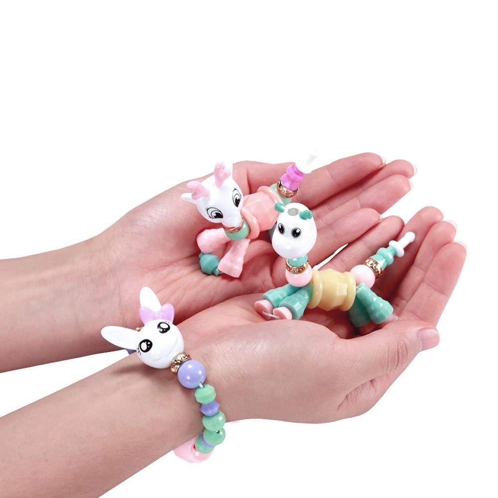 DLUCKY 6 Pack Animal Twist Bracelet Magical Pets Bracelets Transforms Magically from Pet Twist into Bracelet Pop Beads Jewelry Making Kit for Kids Cute Magic Pet Bracelet