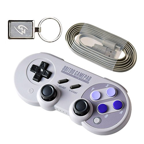 Mcbazel 8Bitdo SN30 Pro Bluetooth Wireless Controller for NS Switch Windows Android Stream with Gam3Gear Keychain