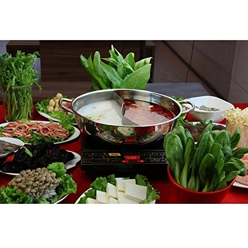 Hot Pot, Giveme5 Stainless Steel Twin Hot Pot Cookware Shabu Shabu Dual Sided Induction Cooker Gas Furnace Include Pot Lid and Pot Spoon (30cm) by Giveme5 (Image #7)'