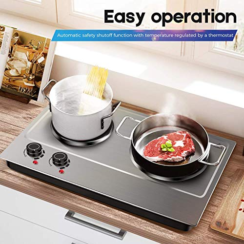 Cusimax Hot Plate Electric Burner Double Burner Cast Iron Heating Plate Portable Double Burner Outdoor Electric Stove 1800W with Adjustable Temperature Control Non-Slip Rubber Feet Black Stainless Steel Easy To Clean Upgraded Version by CUSIMAX-cordial (Image #6)