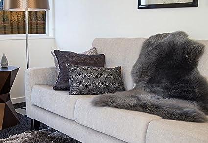 Alfombra piel de cordero (fibras largas) gris antracita 95cm para decoración