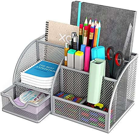 Mesh Desktop Organizer Office Supplies Caddy Multi-Functional Desk Accessories Metal Stationary Holder with 6 Compartments and 1 Drawer for Home, Office, School, Classroom by STOREMIC (Sliver)
