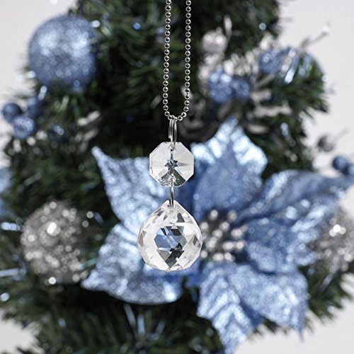 Crystal Xmas Ornaments - 3 Crystal Oval Baubles Ornaments Christmas Tree Hanging Sun Catcher X'mas Decoration