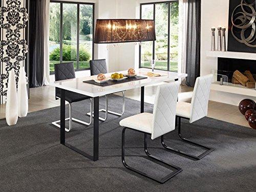 Tischgruppe Nevada Kunstleder schwarz/weiß