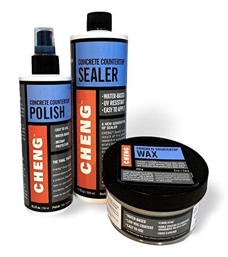Cheng Concrete Countertop Sealer, Wax, and Polish Kit