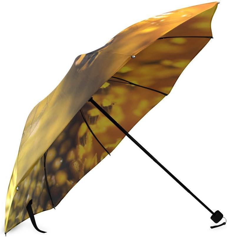 Valentines Day Gift Beautiful Honeybee and Flowers Compact Foldable Rainproof Windproof Travel Umbrella