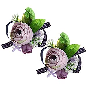Febou Wrist Corsage Pack of 2 Wedding Bridal Wrist Flower Wristband Hand Flower for Bride Bridesmaid Perfect for Wedding, Prom, Party (A-Lavender) 13