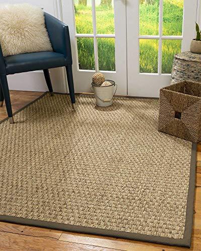 NaturalAreaRugs 100%, Natural Fiber Handmade Basketweave, Natural Seagrass Rug 2' x 3' Fossil Border ()