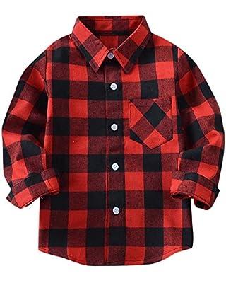 SANGTREE Little & Big Boys' Flannel Plaid Shirt 18M-14 Years