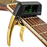 Professional Guitar Tuner Clip,Partysky Chromatic Clip-on Tuner with Rotational Double Color Screen Light LCD Display Single-handed Guitar Capo Metal Golden