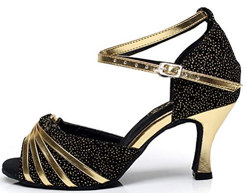 PU Tango Talon 5004 AQQ Tacheté Peep Mariage Toe Salabobo De Noir Femmes Fête Moyen Danse De Chaussures YP5nqzw