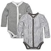 Burt's Bees Baby Baby Set of 2 Organic Long Sleeve Bodysuits, Heather Grey Woodgrain, 3-6 Months