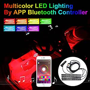 addmotor 4pcs rgb led car interior underdash lighting kit atmosphere neon lights. Black Bedroom Furniture Sets. Home Design Ideas