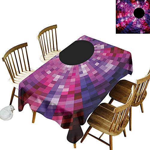 Cranekey Patterned Rectangular Tablecloth W54 x L72 Abstract Mosaic Pattern Design Vibrant Colors Tiles Modern Circular Geometric Graphic Pink Purple Red Great for Bar More
