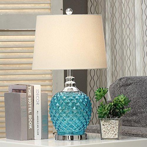YFF@ILU Europäischen Kristall Glas Tischleuchte Amerikanischer Luxus kreative Mode warmen Wohnzimmer Schlafzimmer Nachttischlampe Nordic Champagner bronzing Schatten verheiratet, B